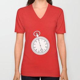 Pocket Watch Outline Unisex V-Neck