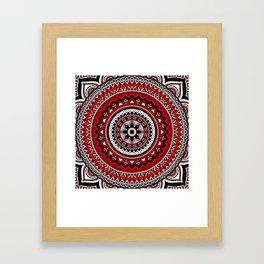 Red and Black Mandala Framed Art Print