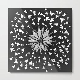 Modern Black Jagged Geometric Flower and Triangles Metal Print