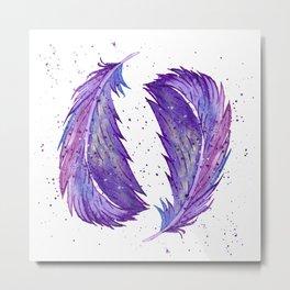 Galaxy Feather Metal Print