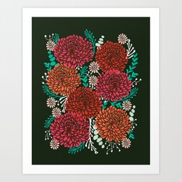 Chrysanthemums - Floral, Flower, Vintage, Design, Illustration by Andrea Lauren Art Print