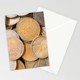 Watercolor Coins, Lincoln Wheat Pennies, 1938 04 Stationery Cards