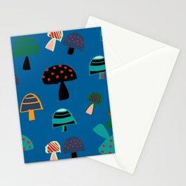 Cute Mushroom Blue Stationery Cards