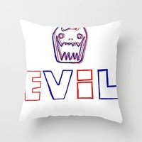 evil Throw Pillows featuring Evil. by The Fort by The Smoking Roses!