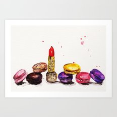 Lipstick and Macaroon's  Art Print