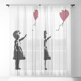 Girl With Red Balloon, Banksy, Streetart Street Art, Grafitti, Artwork, Design For Men, Women, Kids Sheer Curtain
