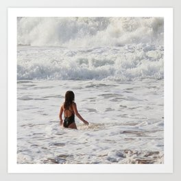 Breaking wave and girl Art Print