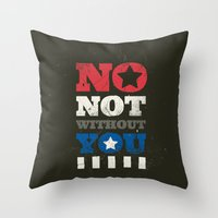 stucky Throw Pillows featuring No, Not Without You!! by MemoryRecovery