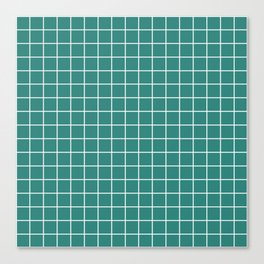 Celadon green - green color - White Lines Grid Pattern Canvas Print
