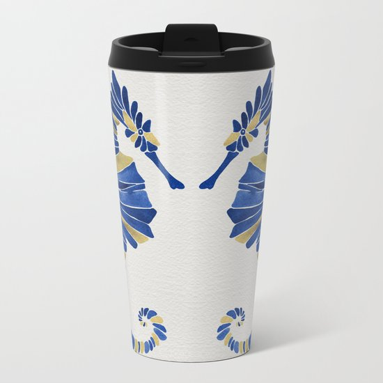 Seahorse – Navy & Gold Metal Travel Mug
