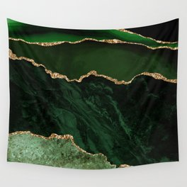 Beautiful Emerald And Gold Marble Design Wall Tapestry