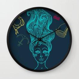 fairy Mermaid with long curly hair Wall Clock