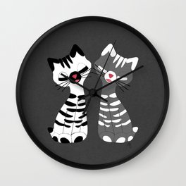Kitschy Kitties in Black and White Wall Clock
