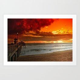 California Sunset Huntington Beach Art Print
