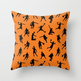 Basketball Players // Orange Throw Pillow