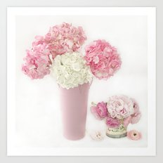 Shabby Chic Pink and White Hydrangeas Floral Print Home Decor Art Print