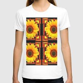 QUATRE WESTERN BLACK & RED ART DECO YELLOW SUNFLOWER T-shirt