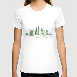 Watercolour Cacti & Succulents T-shirt