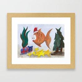 A Fishie Christmas Framed Art Print