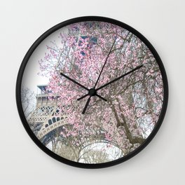 Paris in Springtime with the Eiffel Tower Wall Clock