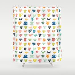 Watercolor Teacups Shower Curtain