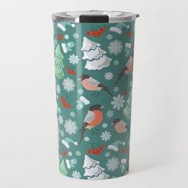 Winter birds blue pattern Travel Mug