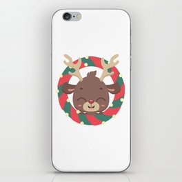 Cute reindeer and goodies in christmas stocking iPhone Skin