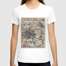 Vintage Richmond Virginia Civil War Map (1865) T-shirt