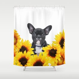 French Bulldog with sunflowers Shower Curtain
