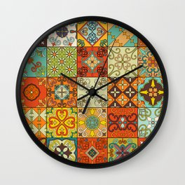 Vintage mosaic talavera ornament Wall Clock