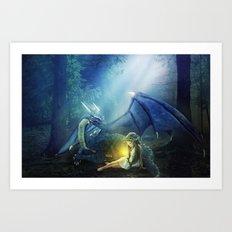 Girl and Dragon Art Print