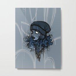 Floppy // Blue Female Portrait // Floppy Hat Girl  Metal Print