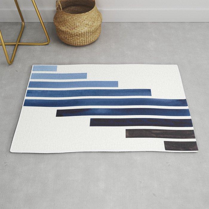Navy Purple Blue Midcentury Modern Minimalist Staggered Stripes Rectangle Geometric Aztec Pattern Wa Rug By Enshape