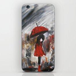 Girl In Red Raincoat Umbrella Rainy Day Fine Art Print Of Acrylic Painting iPhone Skin