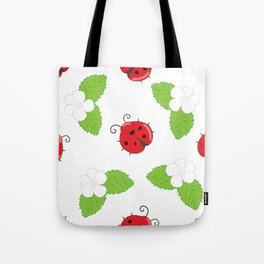 Seamless pattern with ladybugs and white flowers with leaves Tote Bag