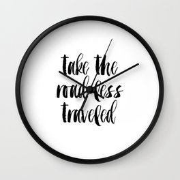 """Typographic Travel Quote Print World Map Poster """"Take the Road Less Traveled""""  Scripture Quote Gradu Wall Clock"""