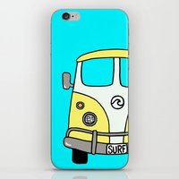 vw bus iPhone & iPod Skins featuring VW Bus Yellow by Cheryl Syminink