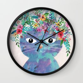 Flower cat II Wall Clock
