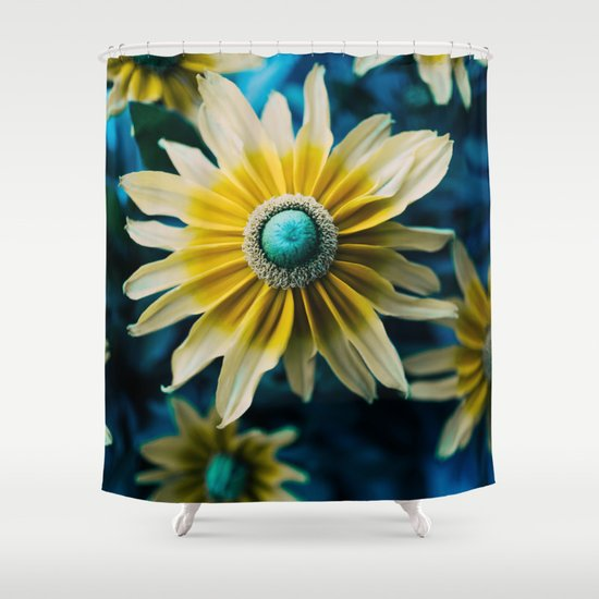 Yellow Blue Flower Shower Curtain By S Bastien Bouvier Society6