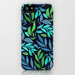Loose Leaves - cool colors iPhone Case