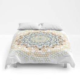 Overlapping Bee Mandala (Color) Comforters