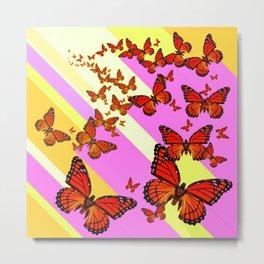 Sun Light Beams Butterflies Migrating Pink-yellow Metal Print