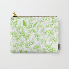 Okinawa Jungle Birds and Orchids in Trees - Green on White Carry-All Pouch