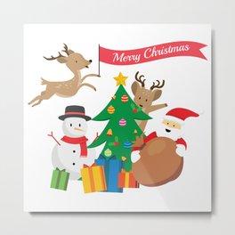 Merry Christmas Snowman Santa Claus Tree Reindeer Gift Metal Print