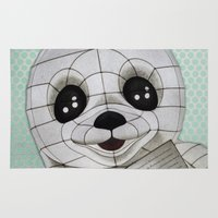 propaganda Area & Throw Rugs featuring Baby Seal Propaganda - Hemlock  by alterEGO