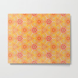 Orange and Red Sixties Retro Geometric Pattern Metal Print
