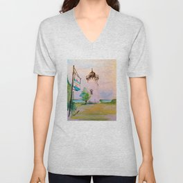 East Chop (Telegraph Hill) Lighthouse Martha's Vineyard Watercolor Unisex V-Neck