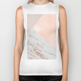 Blush pink layers of rose gold and marble Biker Tank