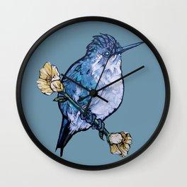 L'il Lard Butt Bee Hummingbird on Mallow flower Wall Clock