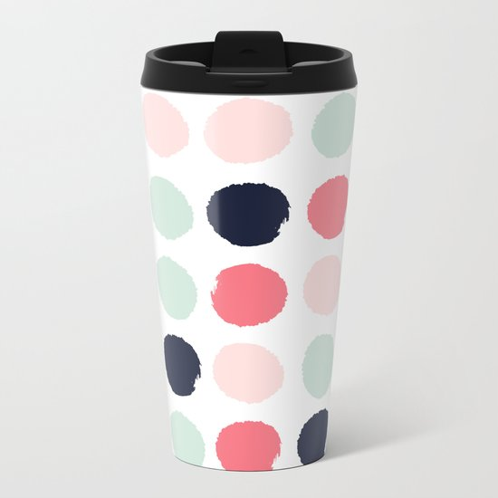 Painted dots trendy color palette minimal polka dots decor nursery home Metal Travel Mug